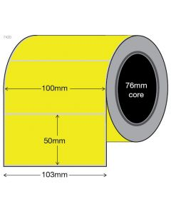 Fluoro Yellow Labels - 100mm x 50mm (3000/roll)