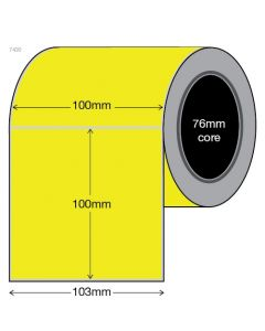 Fluoro Yellow Labels - 100mm x 100mm (1500/roll)