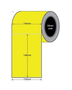 Fluoro Yellow Labels - 100mm x 148mm (1000/roll)