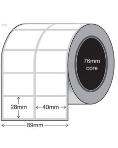 White Thermal Transfer Labels - 40mm x 28mm x 2 (10000/roll)