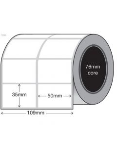 White Thermal Transfer Labels - 50mm x 35mm x 2 (8000/roll)
