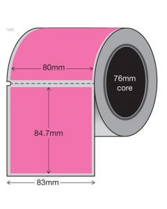 Pink Retail Tags 80mm x 84.7mm (1500/roll)